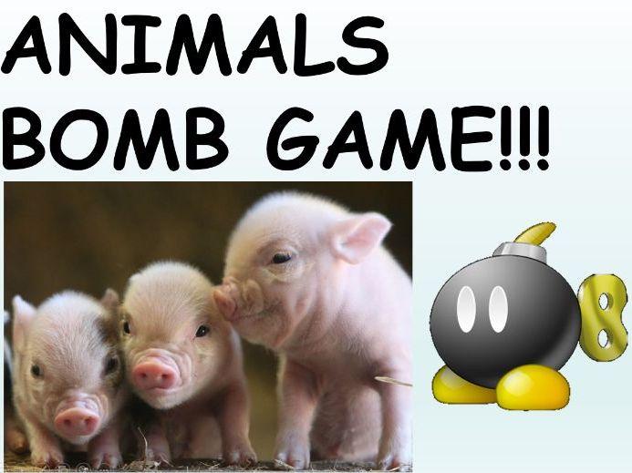 Animals Activities - Team Animal Bomb Game - Grades K-1 - PowerPoint