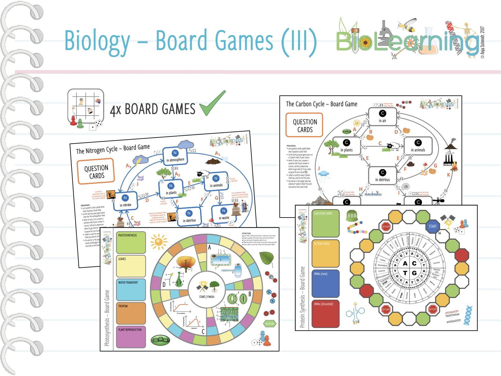 4x fun Biology Board Games - Bundle 3 (KS3/KS4)