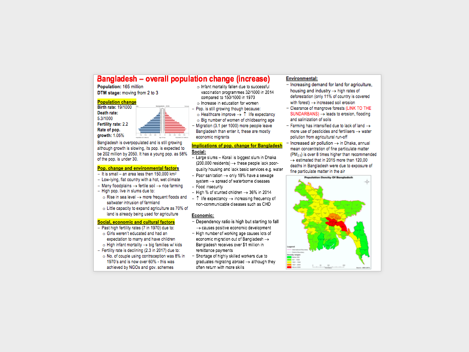 AQA A-level Geography Population and the Environment case studies