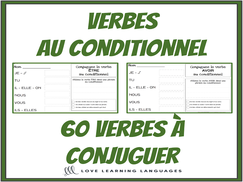 Verbes Au Conditionnel 60 Verbes Francais A Conjuguer Teaching Resources