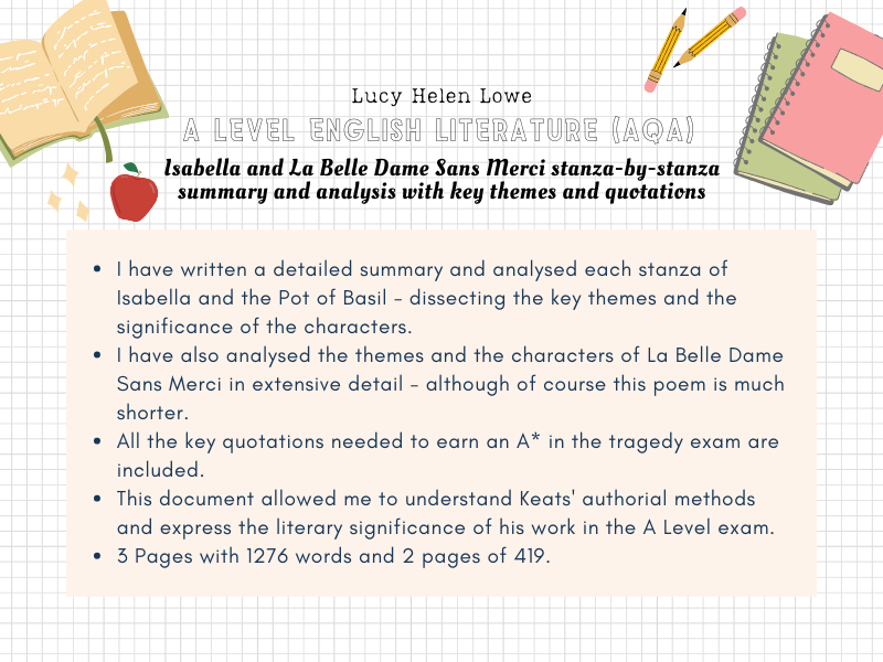 English Literature A Level AQA Isabella and La Belle Dame Sans Merci
