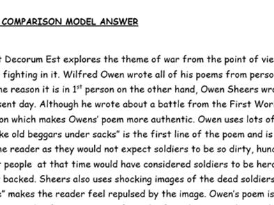 WAGOLL EDUQAS war poetry comparison