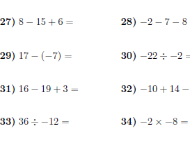 Operations with positive and negative numbers 2 worksheet (with answers)