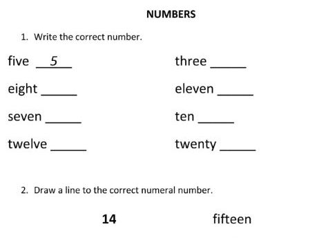 Written Numbers for Year 1 and Year 2 Students