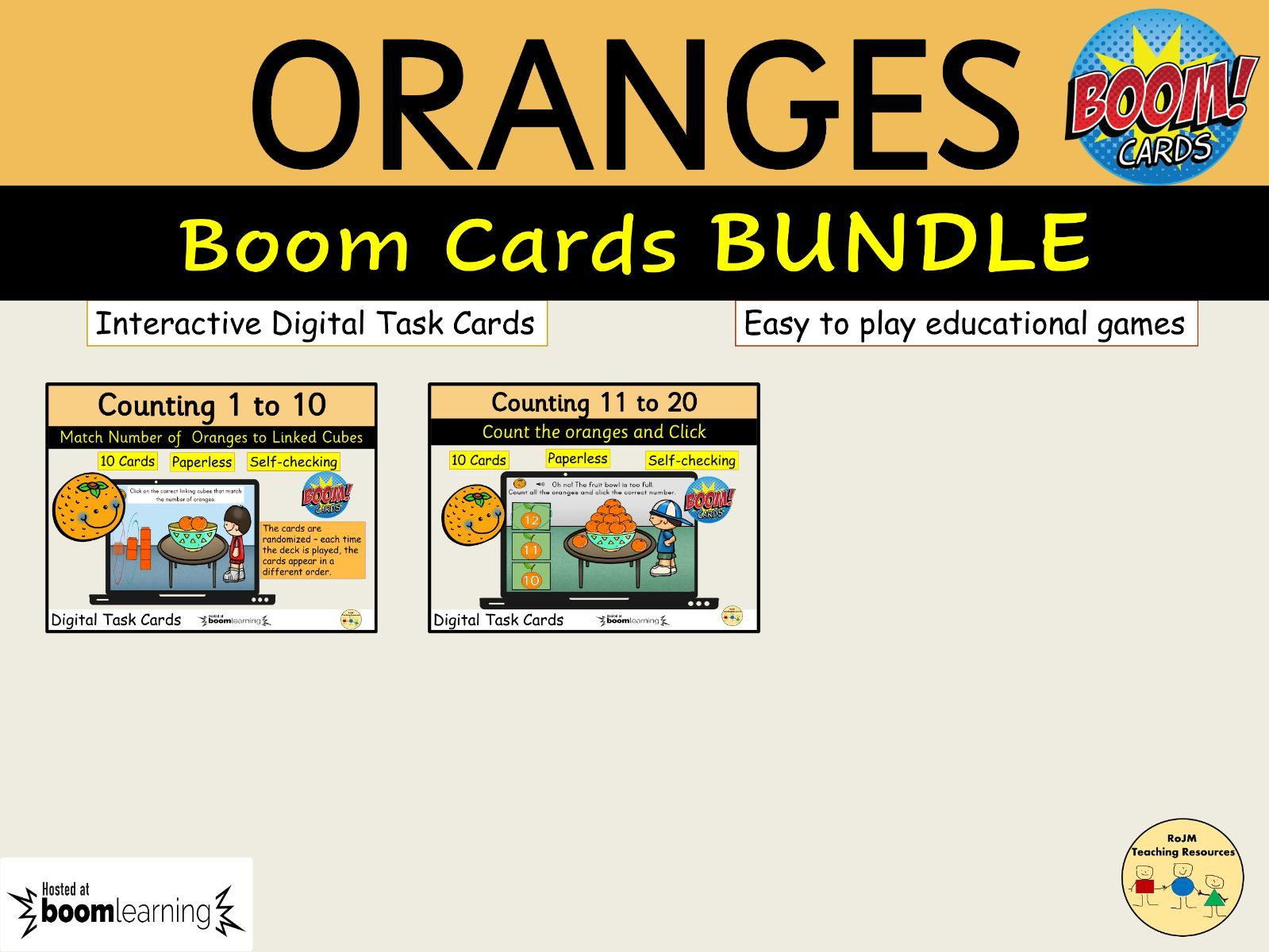 Oranges BUNDLE BOOM Cards Distance Learning Counting Matching Cubes Multiple Choice