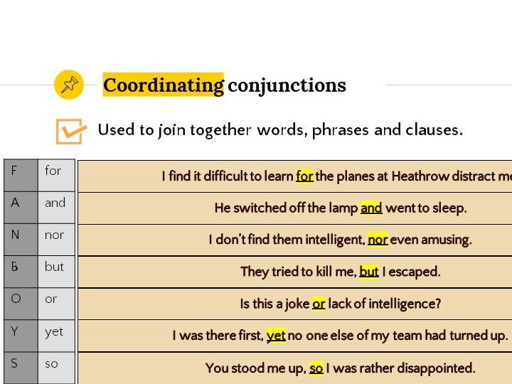 Grammar Lesson 9: Conjunctions