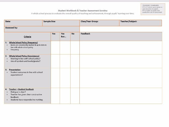 Book / Work Scrutiny Proforma - Whole School Departmental Leadership Tool