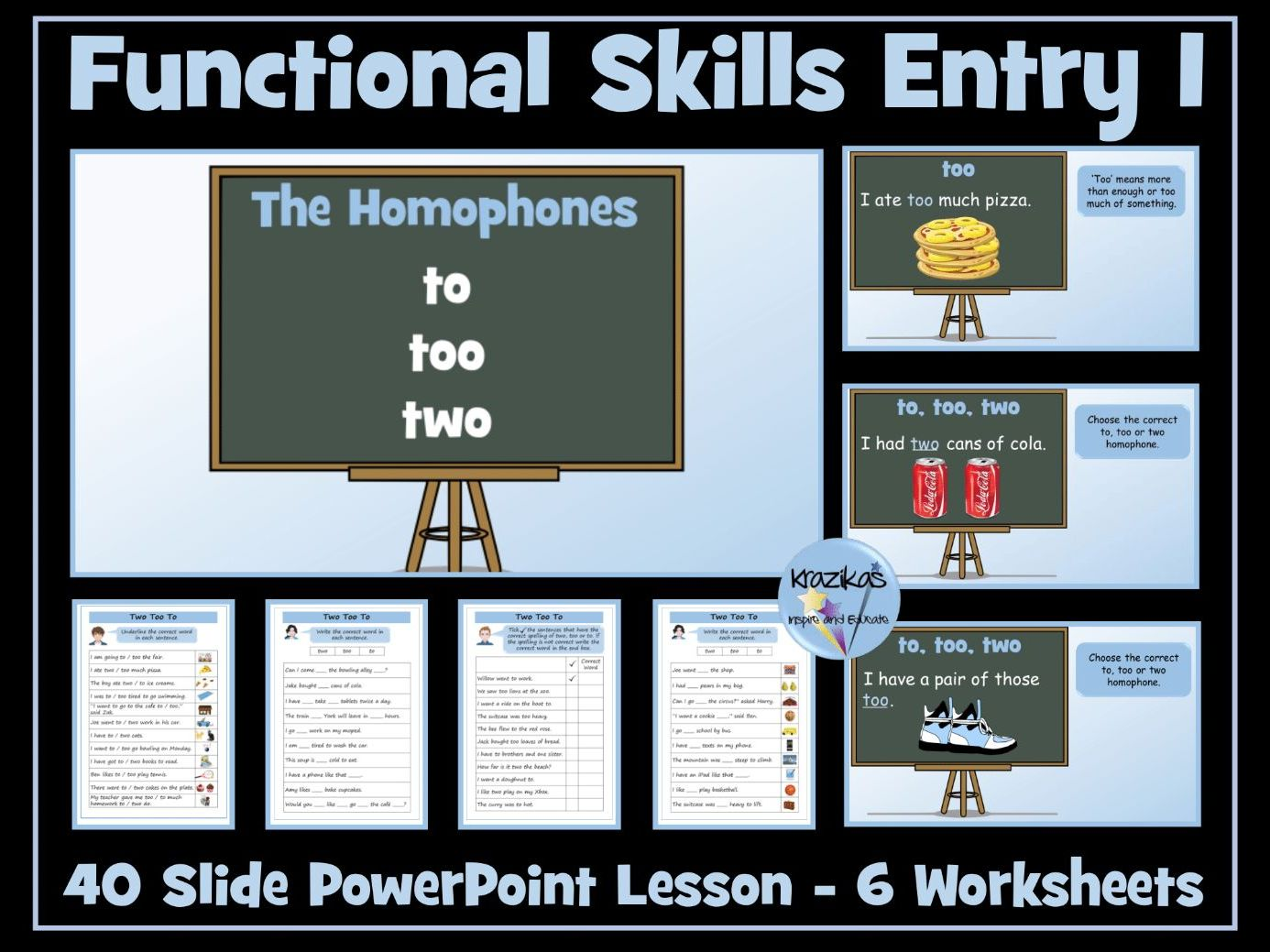 English Functional Skills - Entry Level 1 Writing - Homophones - Two, Too, To