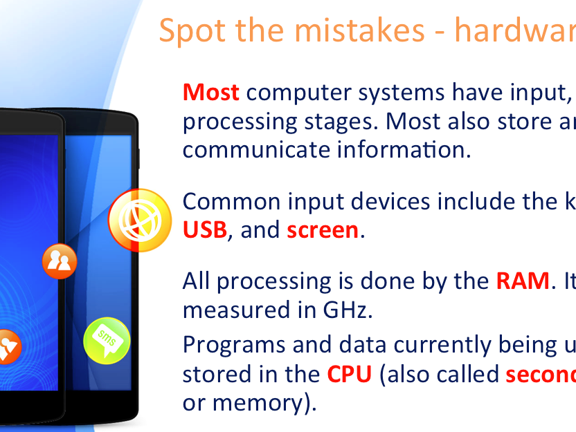 Hardware and Software: spot the mistakes starter / plenary activity (KS3 / GCSE Computer Science)