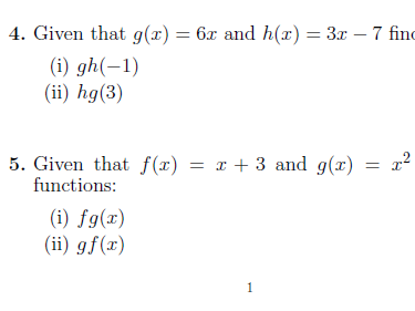 Composite functions worksheet (with solutions)