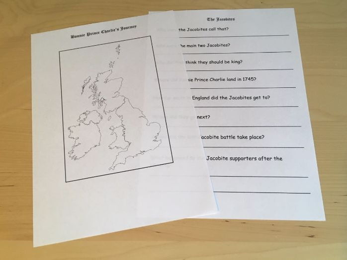 Bonnie Prince Charlie's Journey Jacobites Guided Research Sheet Scottish History