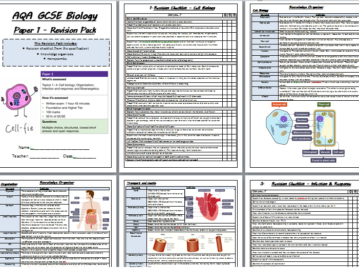 AQA GCSE Biology (9-1) Paper 1 Revision Pack (TRIPLE AND COMBINED)