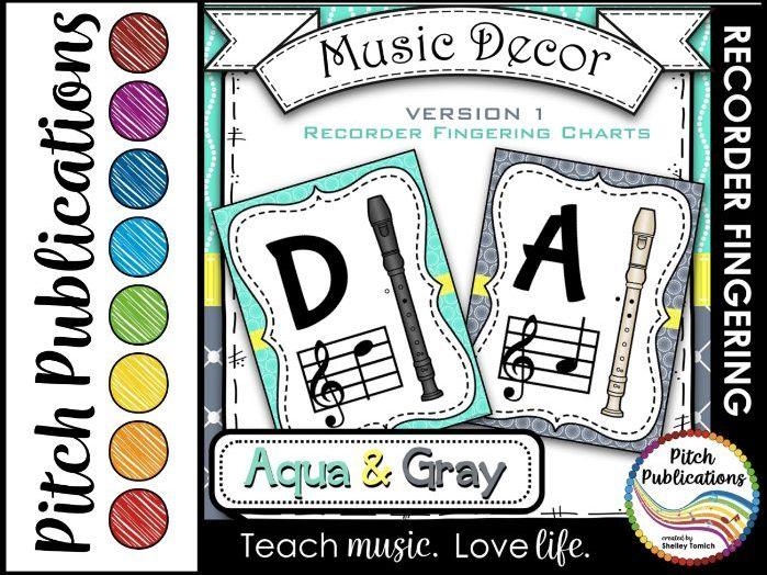 Recorder Fingering Chart Posters v1 Black/Tan- Music Decor Aqua Gray
