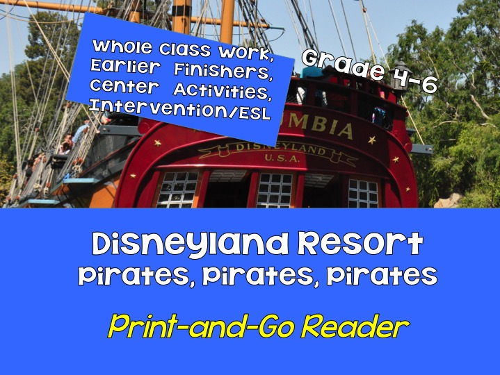FREE! Print-and-Go Reader: Grades 5-8  Disneyland Resort Pirates SPaG, Non-Fiction, CCSS, Centers
