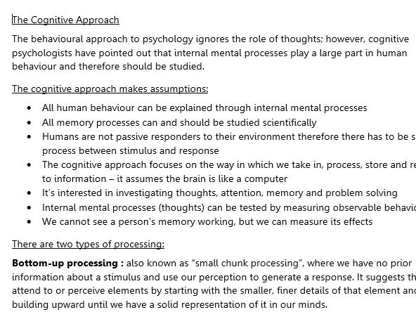 Cognitive Approach (AS Psychology)