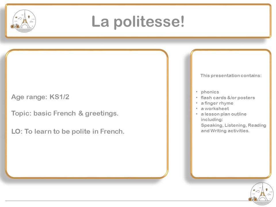 Polite words in French - Politeness, manners (la politesse) KS1/2