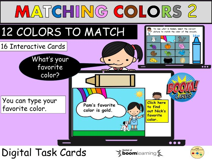 Colors Matching Pictures BOOM Cards Distance Learning