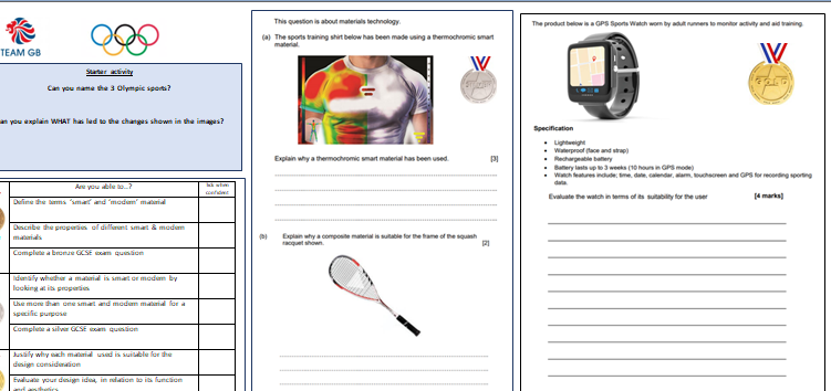 Smart & Modern Materials Olympics design task lesson and resources - 2 lessons - Design & Technology