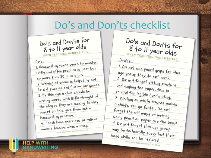 Do's and Don'ts for 8 to 11 years - Handwriting