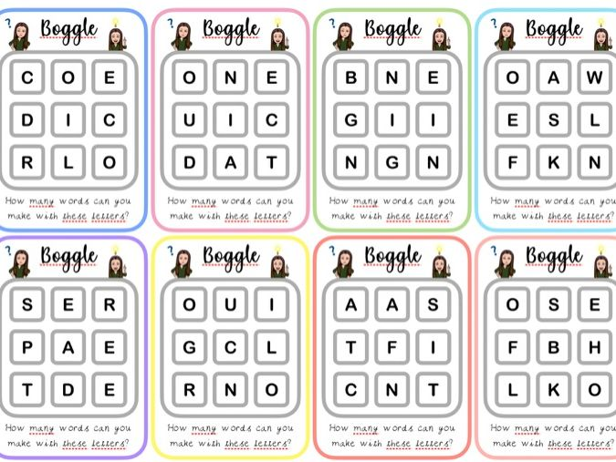 Boggle Fast Finisher Cards