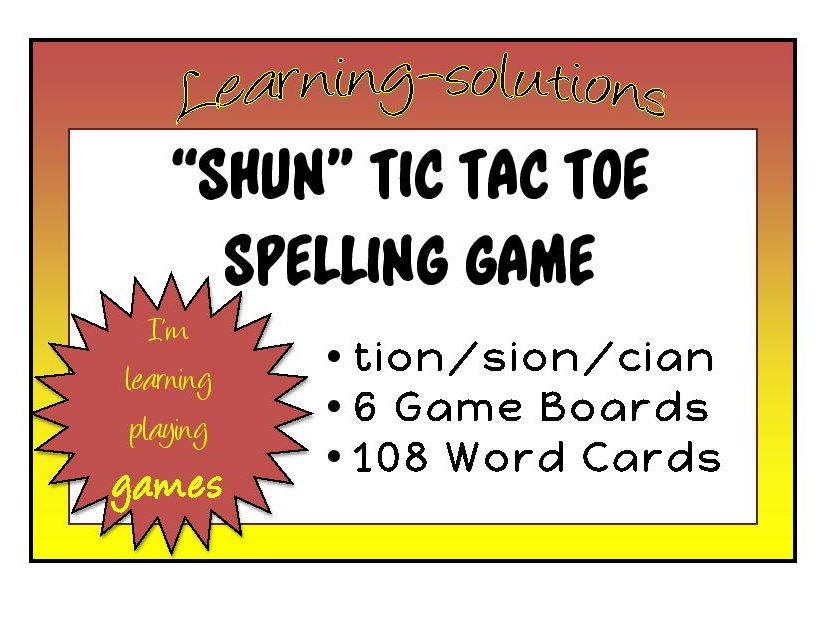 """SHUN"" TIC TAC TOE - BOARD GAME - Words with endings that say  'shun'"