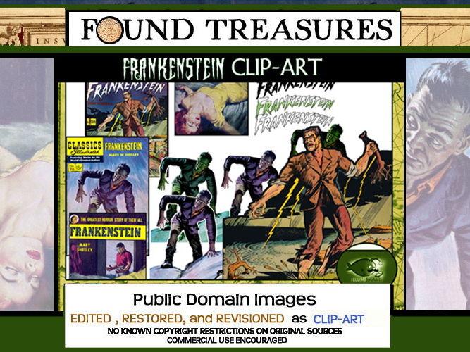 Found Treasures-Literary Legends: Frankenstein 16 pc. ClipArt