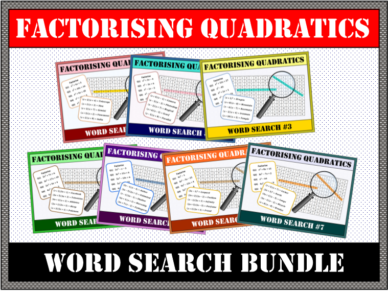 Factorising Quadratics Word Search #1-7