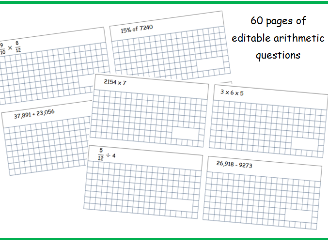 60 arithmetic sheets with answers