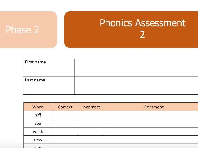 Phase 2 Phonics Screen