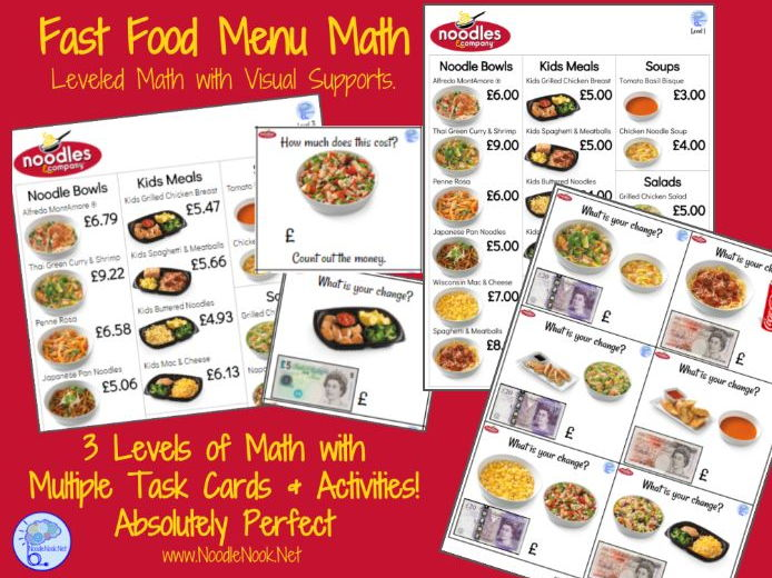 graphic relating to Noodles and Company Printable Menu titled Instant Foods Menu Math- NOODLES CO for Autism Methods and Early Essential