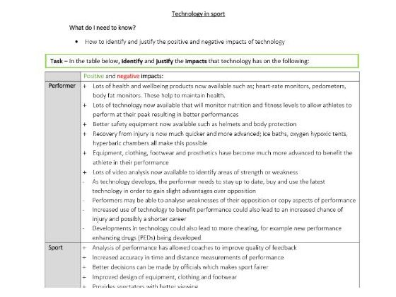 GCSE PE - Technology in sport - Student worksheet