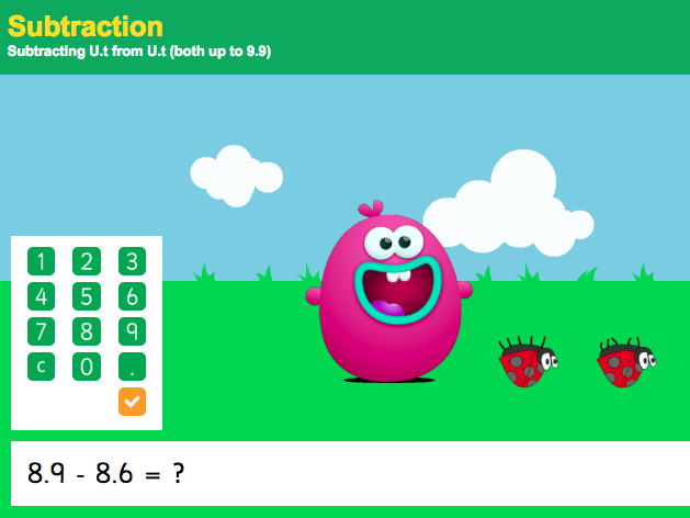 Subtracting with Decimals: Tenths - Interactive Game 2 - KS2 Number