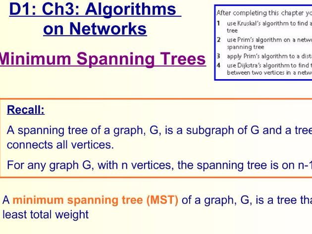 Decision 1 Chapter 3 Minimum Spanning Trees