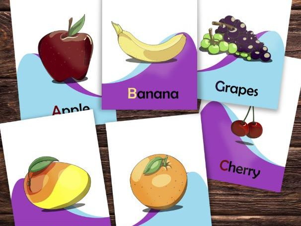 Fruit flash cards, fruit vocabulary worksheets and coloring sheets. Printable
