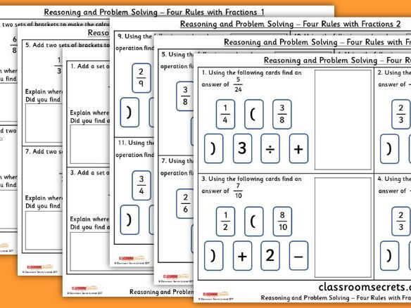 Year 6 Four Rules with Fractions WRM Fractions Reasoning and Problem Solving