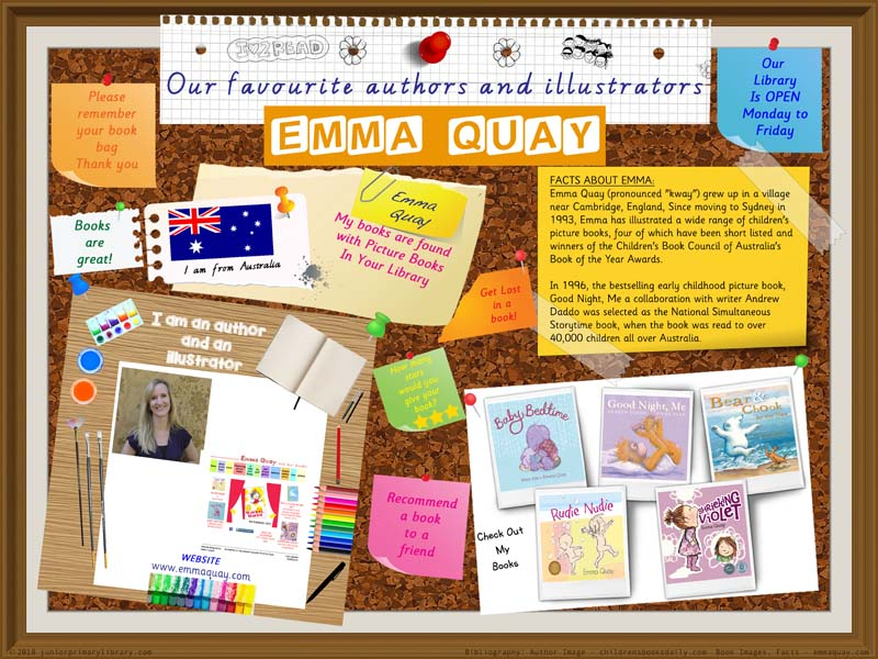 Library Poster - Emma Quay Australian Author Illustrator Of Picture Books