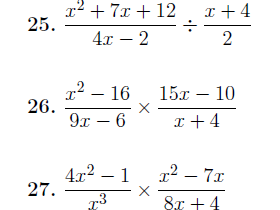Algebraic fractions worksheets (with detailed solutions)