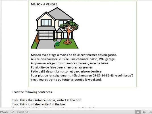 la maison French reading tasks and mark scheme