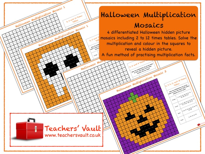 Halloween Multiplication Mosaics