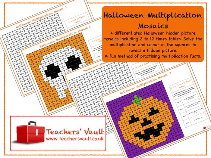 Halloween Multiplication Mosaics