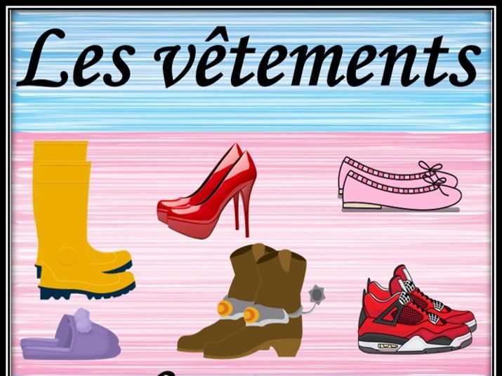 Clothes in French.  Types of shoes. Les vêtements. Jeu. Powerpoint game.
