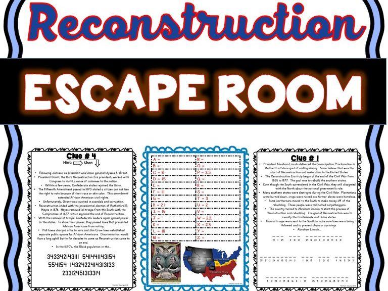 Civil War Reconstruction Escape Room