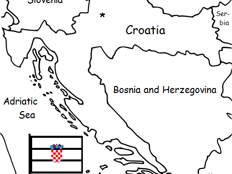CROATIA  - printable handout with map and flag