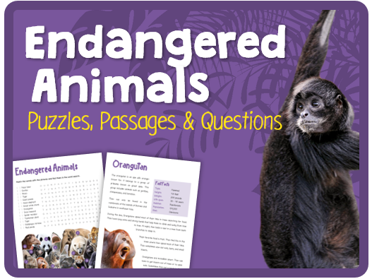 Endangered Animals (Puzzles, reading & questions)