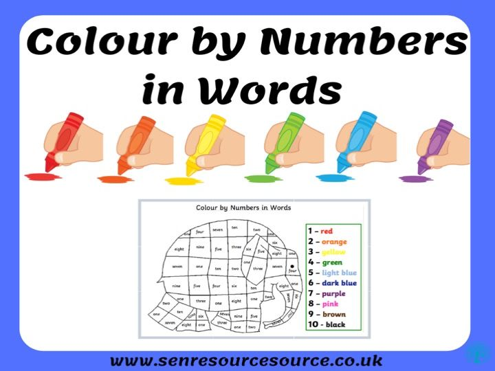 Elephant colour by numbers in words