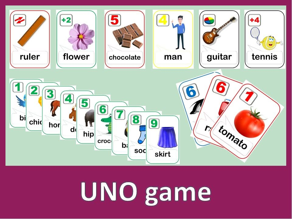 Starters vocabulary game (UNO)