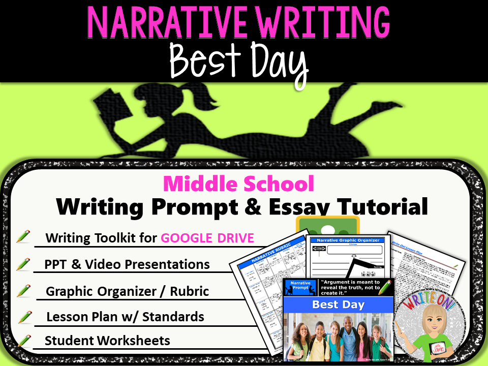 Narrative Writing Lesson / Prompt – Digital Resource – Best Day – Middle School