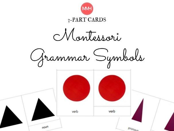 Montessori Grammar Symbols - 3 part cards