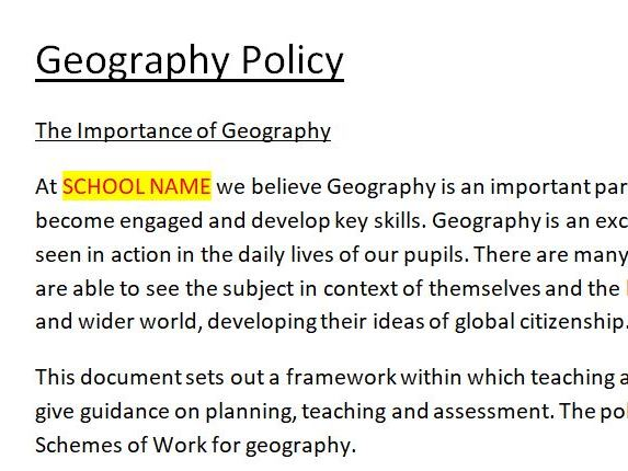 Geography Policy Primary School