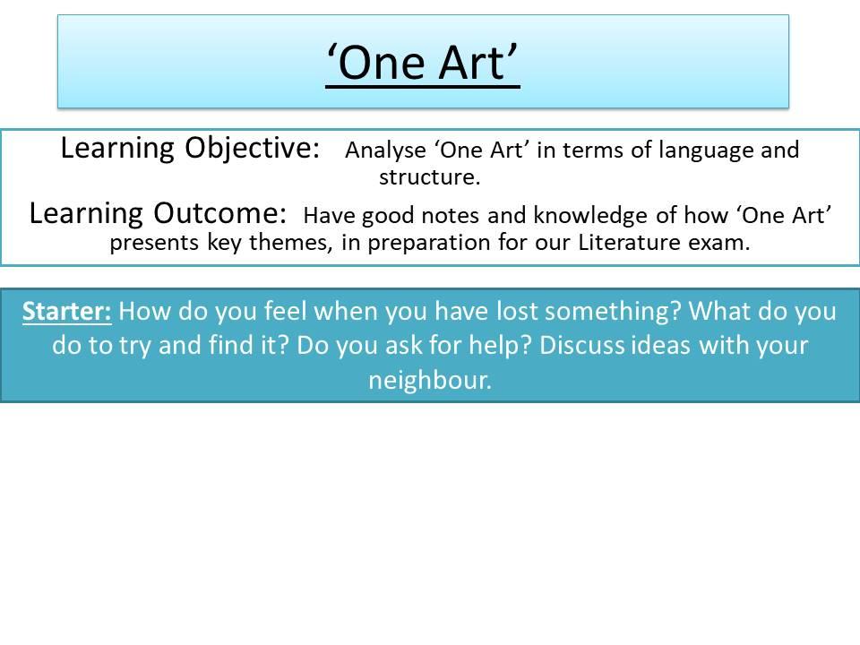 'One Art' - Elizabeth Bishop